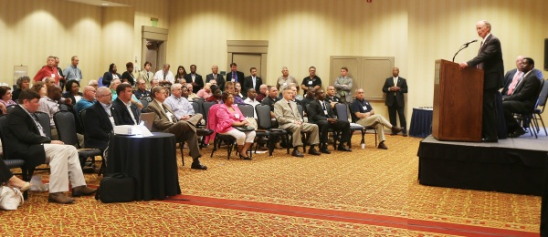 Alabama Gov. Robert Bentley speaks to a large group of attendees at the 2016 State of Alabama Governor's Preparedness Conference in Florence, Ala., Wednesday, June 15, 2016. Gov. Bentley stressed the importance of continued vigilance in preparedness for natural disasters and other disasters.  (Governor's Office, Jamie Martin)