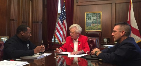 PHOTO: Federal Coordinating Officer Warren Riley (left), Governor of the State of Alabama Kay Ivey (center), and Alabama Emergency Management Agency Director Brian Hastings (right) participate in the FEMA-State Agreement signing for the Emergency Declaration for the State of Alabama.