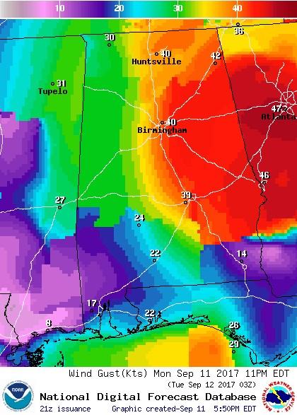 Tropical storm Irma was located northwest of Valdosta, GA1